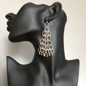 80's Matt Silver Bollywood Chainmail Drop Earrings
